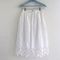 white cotton skirt / high waisted pencil skirt / cut out skirt