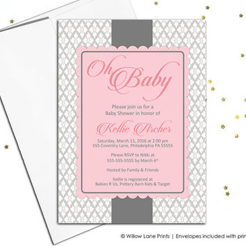 Baby girl baby shower invitations printable baby shower invite for girls - pink and brown - unique baby shower invitations (773)
