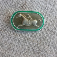 Horse racing sports pin Vintage equestrian riding badge Dressage decor Equine farm horse ranch Wild horse mustang mare Country western style