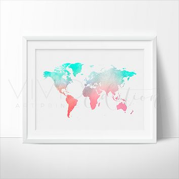 World Map, Mint + Coral Watercolor Art Print