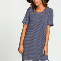 Navy Pencil Stripes Jersey Tee Dress