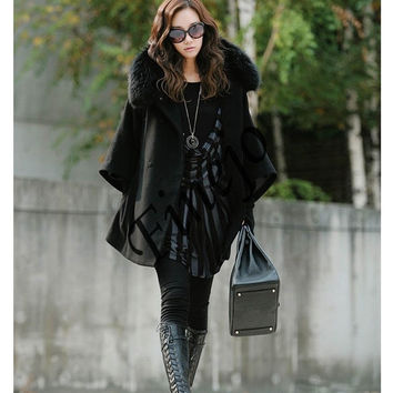 Women's Luxury Double Breasted Batwing Cape Poncho Coat Jacket Fur Collar Hooded 2323 (Size: XXL, Color: Black) = 1904718276