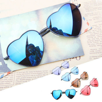 Metal Frame Heart Shape Sunglasses Cute Lovely Women's Sunglasses [6471700036]