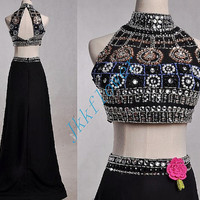 Unique Black Two Piece Prom Dresses,Stunning Crystal Beaded Keyhole Back Prom Dresses,Black Formal Party Evening Dresses,Bridesmaid Dresses