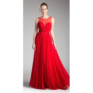 Long A-Line Chiffon Dress Red Illusion Neckline And Open V-Back