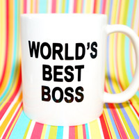 WORLD'S BEST BOSS Coffee Mug. The Office Mug /Dundler Mifflin Mug / Dwight Schrute / Jim Halpert / Michael Scott / Paper Co.