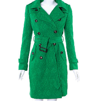 Winter Lace Green Double Breasted Coat
