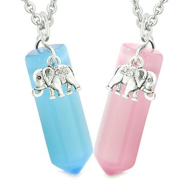 Lucky Elephant Love Couples or Best Friends Crystal Points Sky Blue and Pink Simulated Cats Eye Necklaces