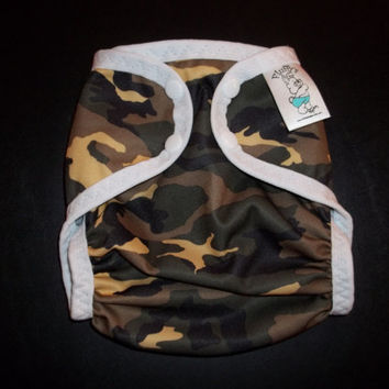 Sage Green Camo Polyester PUL Cloth Diaper Cover With Aplix Hook & Loop Or Snaps You Pick Size XS/Newborn, Small, Medium, Large, or One Size