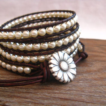 Cream Pearl Beaded Leather Wrap Bracelet, 5X Wrap Beaded bracelet, Country Western Wrap, Gift for her