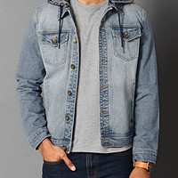 Tribal Print Hooded Denim Jacket Denim Washed/Navy