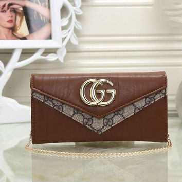 GUCCI Women Leather With Metal Chain Purse Wallet H-MYJSY-BB