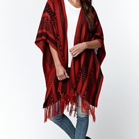 LA Hearts Short Sleeve Fringe Trim Poncho - Womens Sweater - Black/Dark Walnut - One