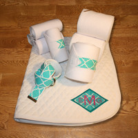 Horse Full Set - Teal Quatrefoil Diamond Applique