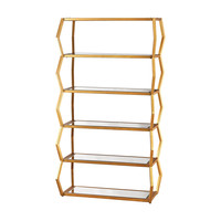 Anjelica Bookshelf In Gold Leaf And Clear Mirror Gold Leaf,Clear