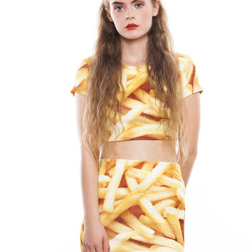 FRIES CROP TOP T SHIRT ALL OVER FULL PRINT FASHION TUMBLR FOOD | Minga London