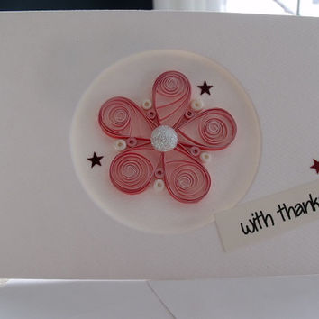 handmade paper quilled thank you card – with thanks