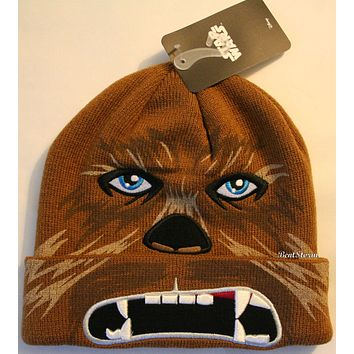 Licensed cool Star Wars Chewbacca Wookie FACE ADULT UNISEX Costume Watchman Beanie Plush Hat