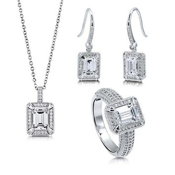 Emerald Cut Clear Cubic Zirconia CZ 925 Sterling Silver Halo Pendant Necklace Dangle Earrings And Ring Matching 3 Pc Set #vs118
