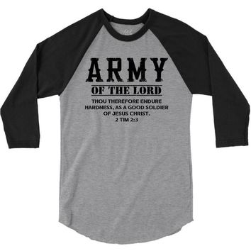 Army Of The Lord Christian T Shirts Bible Verse 3/4 Sleeve Shirt