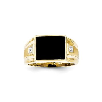 10k Yellow Gold Men's Diamond and Black Onyx Ring