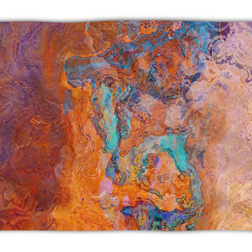 Abstract Art plush fleece throw, 50x60 and 60x80, coral fleece blanket in turquoise and orange, Southwest Archetype
