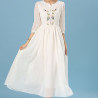 Buttons Up Neckline Embroidered Vintage Chiffon Dress