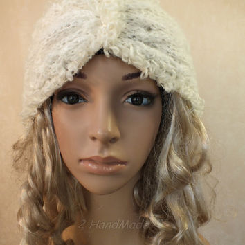 Knitted Santa Christmas Headband Adult Cream of White Cable Knit Infinity Wide Headband Turban Angora Mohair Wool  Xmas Gift