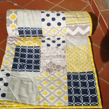 Nautical Baby quilt,Baby boy bedding,baby girl quilt,navy blue,grey yellow nursery,Patchwork Crib quilt,chevrons,dots,Sun Ocean and Mist