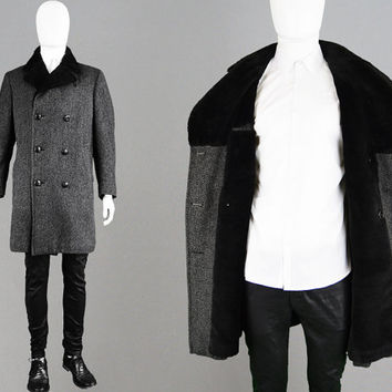 Vintage 60s AQUASCUTUM Mens Wool Peacoat Faux Fur Collar Double Breasted Mens Grey Overcoat Fake Fur Lining British Designer Lambswool Coat