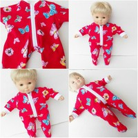 BITTY BABY CLOTHES,  girl, or  inch twin doll, red butterfly flower print cotton knit, pajamas pjs sleeper, handmade by adorabledolldesigns