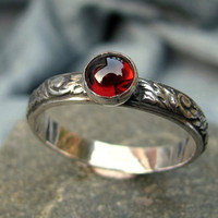 Ring stacker garnet sterling silver promise ring  by bewittched