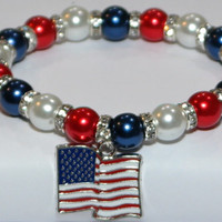 american jewelry - american bracelet - usa flag bracelet - military - american flag - red white and blue - 4th of july - handmade bracelet