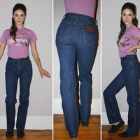 Vintage 70s WRANGLER Jeans / BOOT Cut Denim / Mid Rise / Medium Wash, Indigo Blue Jeans / Cowboy, Western / Extra Small