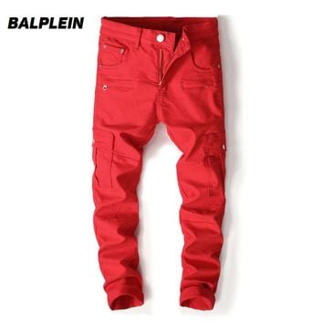 Red Color High Street Fashion Mens Jeans Big Pocket Cargo Pants Men Balplein Brand Punk Style Motor Biker Jeans Homme Dropship
