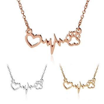 Dogs Paws Love Heartbeat Necklace