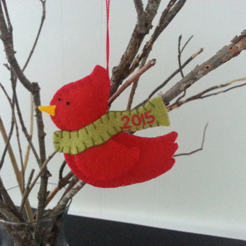 2015 - Cardinal Wool felt Christmas ornament with YEAR