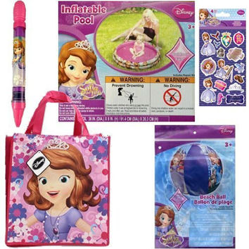 Disney Princess Sofia The First Outdoor Water Toys Set For Kids - 1 Inflatable Kidde Pool, 1 Water Blaster, 1 Beach Ball, 1 Medium Non-Woven Sofia Tote Bag Plus Princess Sofia Stickers