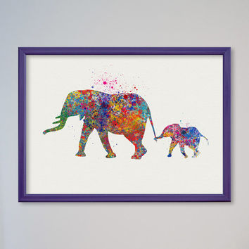 Elephant Family Watercolor Poster Print Nursery Art Print Home Decor Wall Decor Animal Art Poster Mom and Baby Elephant Poster