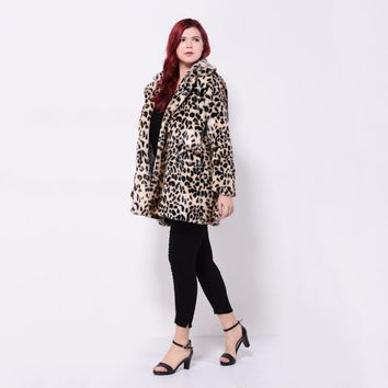 Womens Plus Size Leopard Fur Coat Vintage Elegant Warm winter jacket
