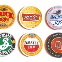 Beer coasters with cork bases,  set of 6, beer mats, cork, lacquered, vintage coasters, bar accessory