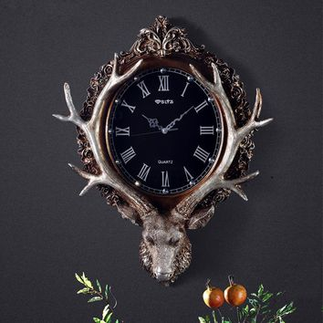 European style retro art clock room watch deer decorative wall hanging large personality silent watch