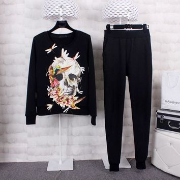 Tracksuits Sportswear Women Spring Fashion Long Sleeve Dragonfly Skull Printed sweatshirt and Pant Set Two Piece