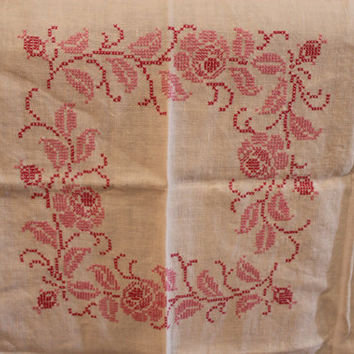Vintage Linen Hand Stitched Rose Pattern by losttreasures2u