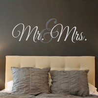 Mr. & Mrs.- Vinyl Wall Decal- Wall Quotes- Decals-Words for the Wall Monogram Personalized Wedding Gift Bedroom Decor