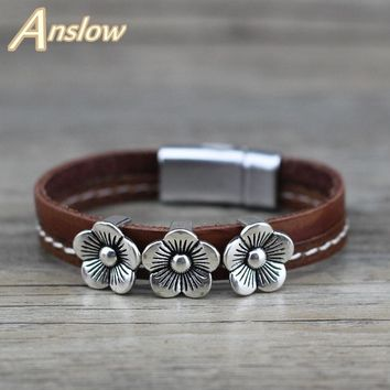 Anslow Brand Fashion Jewelry Trendy Retro Vintage Flower Lucky Leather Bracelet For Women Men Friendship Couples' Gift LOW0695LB