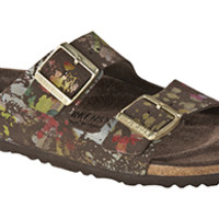 Arizona Soft Footbed Flower Crush Mocha Suede Sandals | Birkenstock USA Official Site