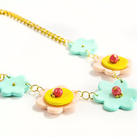 Mint green flowers statement necklace Peach and yellow modern party jewelry Polymer clay short bib necklace