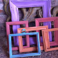 Shabby Chic Frames Distressed Vintage Frames Upcycled Painted Wedding Beach Decor