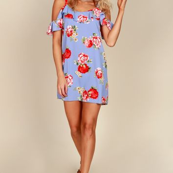 Bursting In Bloom Print Dress Chambray